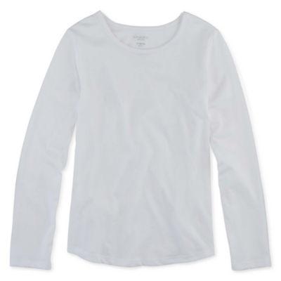 Arizona Little & Big Girls Round Neck Long Sleeve Graphic T-Shirt