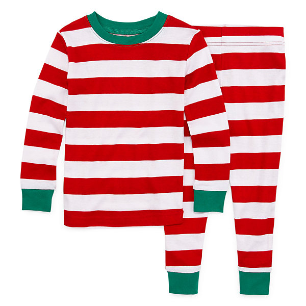 North Pole Trading Co. Red And White Stripe Family Unisex 2-pc. Sleeping Beauty Pant Pajama Set Toddler