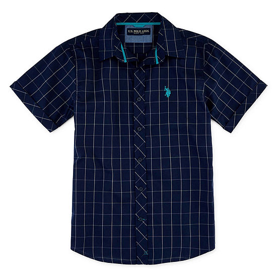 Us Polo Assn. Big Boys Short Sleeve Embroidered Button-Down Shirt