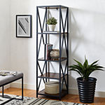 Modern Metal and Wood Tower Bookcase