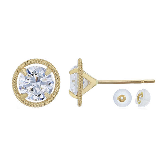 2 1/4 CT. T.W. White Cubic Zirconia 14K Gold 7.7mm Round Stud Earrings