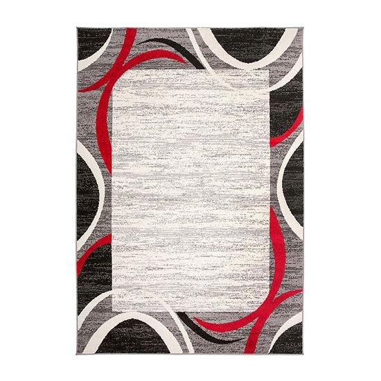 World Rug Gallery Modern Geometric Border Rectangular Indoor Rugs
