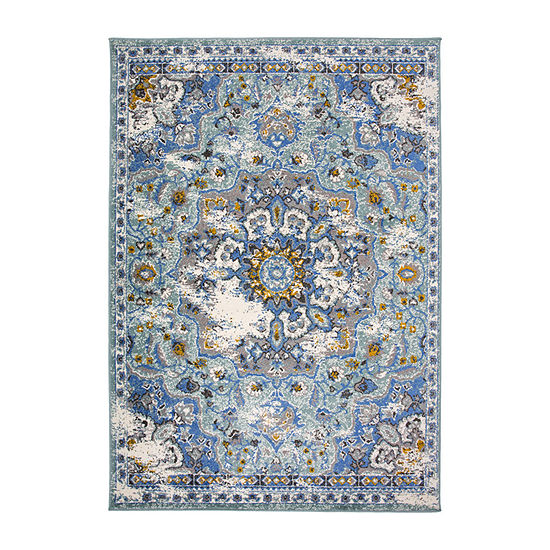 World Rug Gallery Traditional Medallion Distressed Rectangular Indoor Rugs