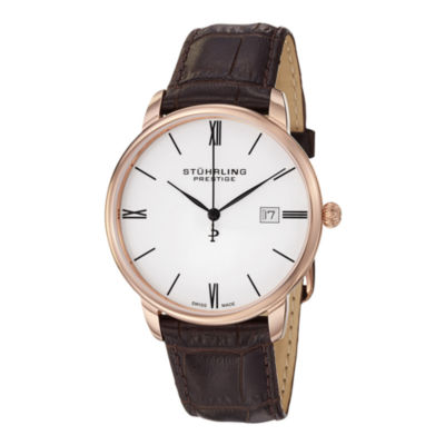 Stührling® Original Mens Brown Leather Strap Watch