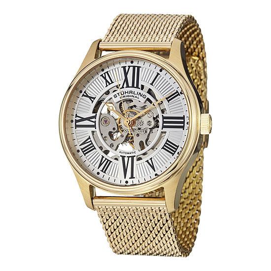 Stührling® Original Mens Gold-Tone Skeleton Automatic Mesh Watch