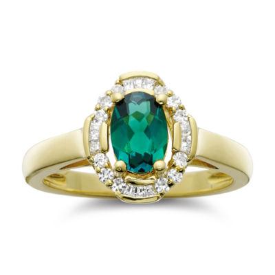 1/5 CT. T.W. Diamond & Simulated Emerald 10K Yellow Gold Ring