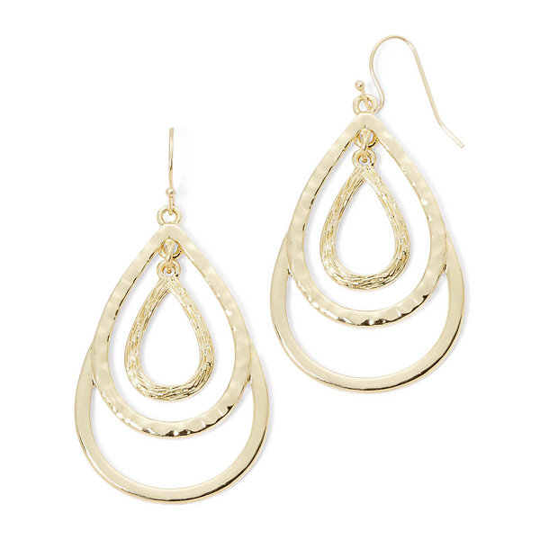 Liz Claiborne® Gold-Tone Layered Teardrop Drop Earrings