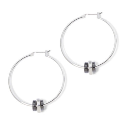 Liz Claiborne® Silver-Tone and Hematite Rondelle Hoop Earrings