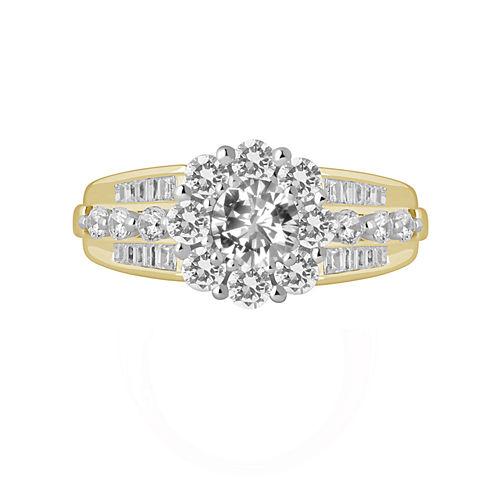 Womens 2 CT. T.W. Genuine Round White Diamond 14K Gold Engagement Ring