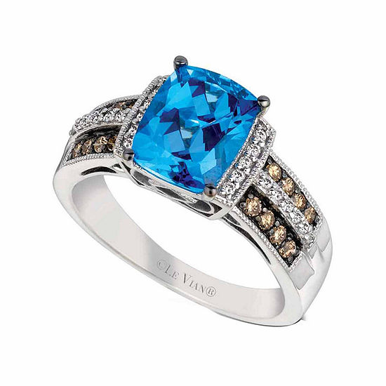 LIMITED QUANTITIES Le Vian Grand Sample Sale™ Ocean Blue Topaz™, Vanilla Diamonds®, & Chocolate Diamonds® Ring set in 14K Vanilla Gold®