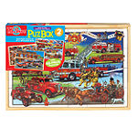 Back In Time American Fire Trucks Jumbo Wooden Puzzles In A Wooden Box: 2 Puzzles