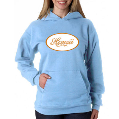 Los Angeles Pop Art Hawaiian Island Names & Imagery Womens Sweatshirt