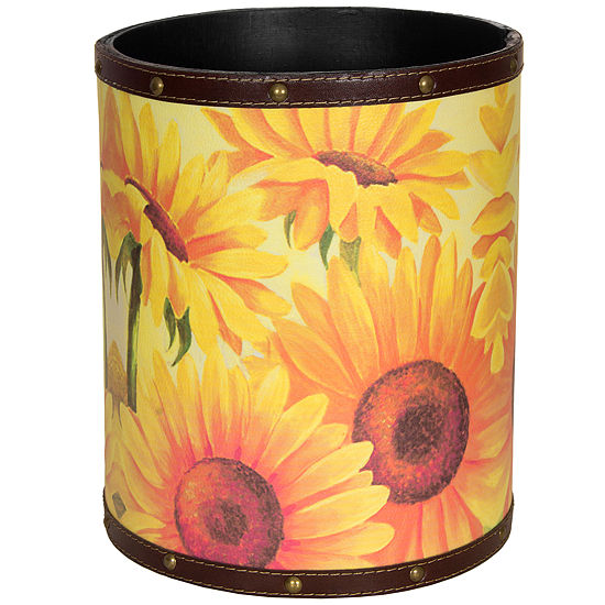 Oriental Furniture Sunflower Garden Waste Basket
