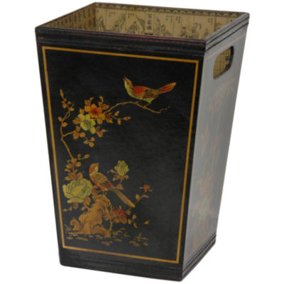 Oriental Furniture Tapered With Handles Waste Basket