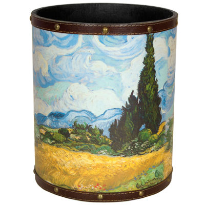 Oriental Furniture Van Gogh Wheat Field Waste Basket
