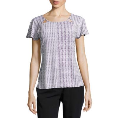 Worthington Short Sleeve Scoop Neck Geometric T-Shirt-Womens