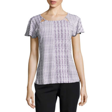 Worthington Short Sleeve Scoop Neck Geometric T-Shirt-Womens