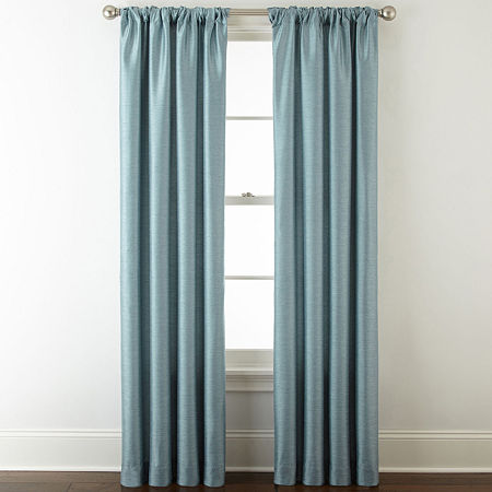 JCPenney Home Westfield Light-Filtering Rod-Pocket Single Curtain Panel, One Size , Blue