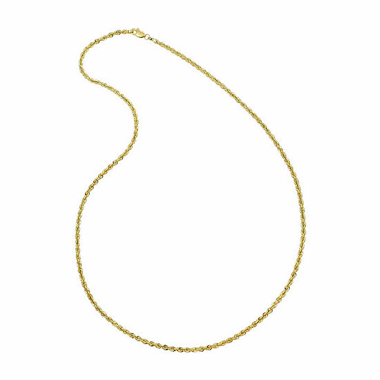 """Solid 14K Gold Glitter Rope 18-30"""" 2.5mm Chain"""