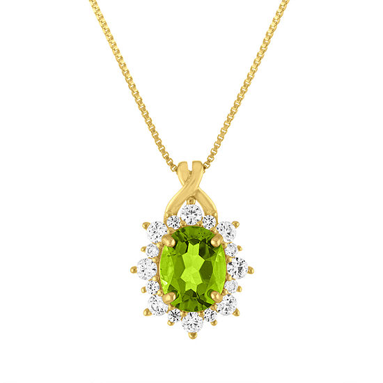 Womens Genuine Green Peridot 14K Gold Over Silver Pendant