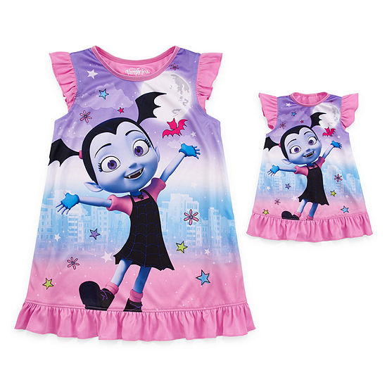 Girls Vampirina Short Sleeve Crew Neck Nightgown with Matching Doll Outfit