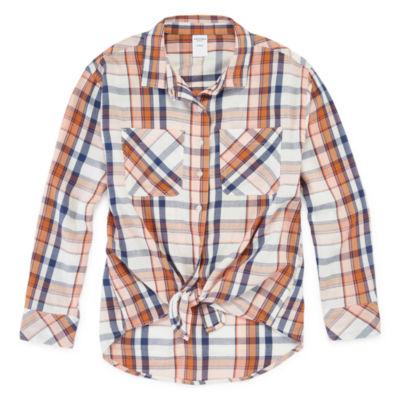 Arizona Girls Long Sleeve Button-Front Shirt Preschool / Big Kid
