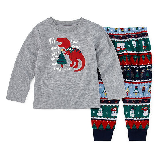 North Pole Trading Co. Fun Fairisle Family Boys 2-pc. Pant Pajama Set Toddler