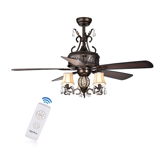 Warehouse Of Tiffany Firtha 52 In. Indoor Antique Bronze Finish Remote Controlled Chandelier