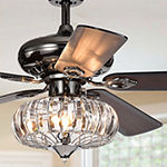 Warehouse Of Tiffany Chrysaor Ii 52 In. Indoor Satin Pear Black Finish Remote Controlled Chandelier