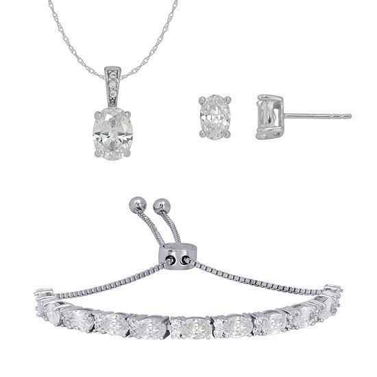 DiamonArt® White Cubic Zirconia Sterling Silver 3-pc. Jewelry Set