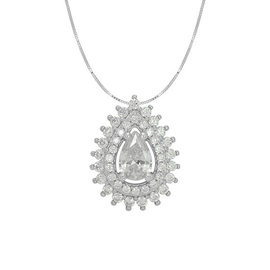 Diamonart Womens White Cubic Zirconia Sterling Silver Pear Pendant Necklace