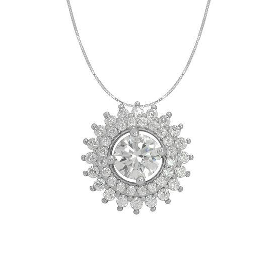 Diamonart Womens White Cubic Zirconia Sterling Silver Pear Pendant Necklace