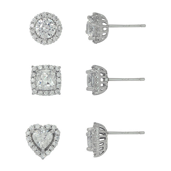 Diamonart 4 CT. T.W. White Cubic Zirconia Sterling Silver Round Earring Set