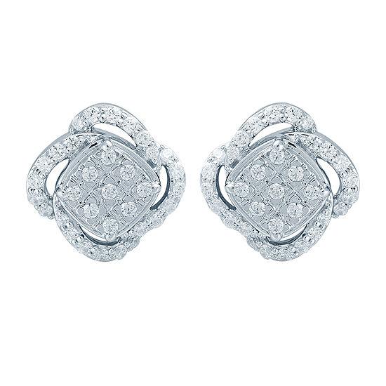 1/2 CT. T.W. Genuine White Diamond Sterling Silver 10.1mm Stud Earrings