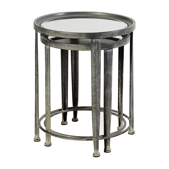 Stylecraft Blackened Silver Nested Round Chairside Table Set of 2