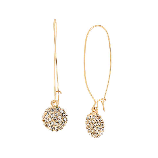 Worthington Gold Tone Crystal Pave Earrings