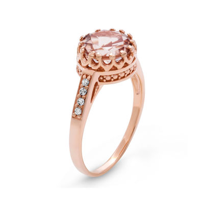 Simulated Morganite Sterling Silver Ring