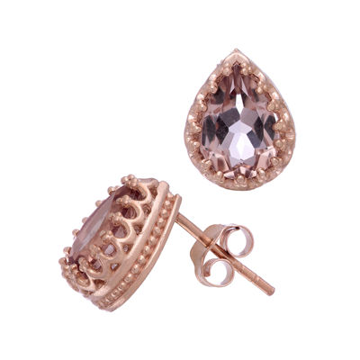 Simulated Morganite 14K Rose Gold Over Silver Earrings