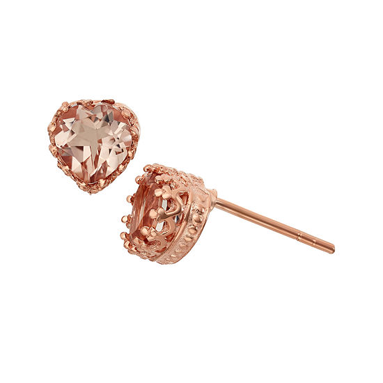 Simulated Morganite 14K Gold Over Silver Earrings