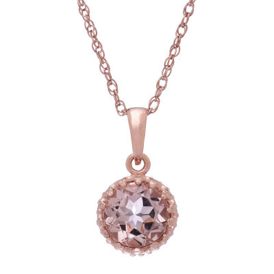 Simulated Morganite 14K Gold Over Silver Pendant Necklace