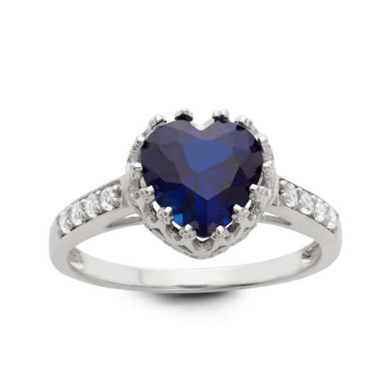 Lab Created Blue Sapphire Sterling Silver Ring