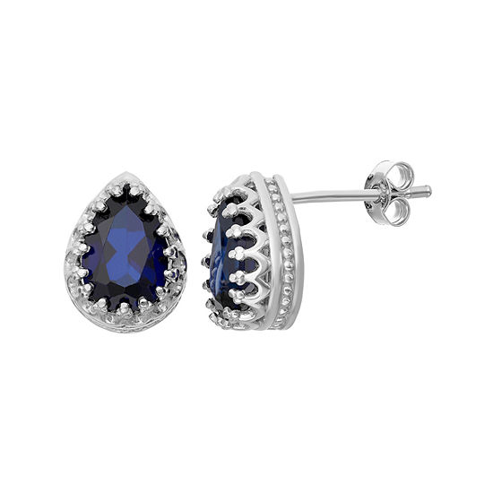 Lab-Created Blue Sapphire Sterling Silver Earrings