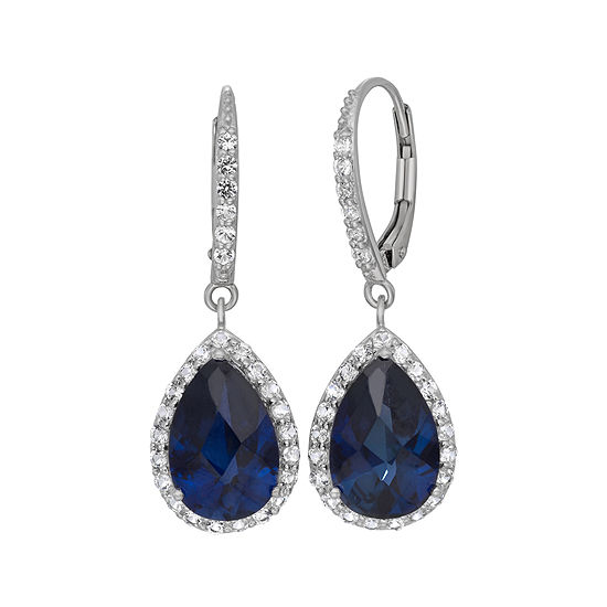Lab-Created Blue Sapphire & White Sapphire Sterling Silver Earrings