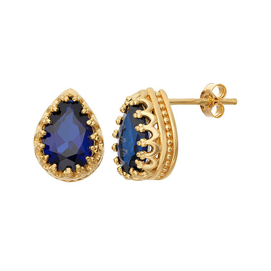Lab-Created Blue Sapphire 14K Gold Over Silver Earrings