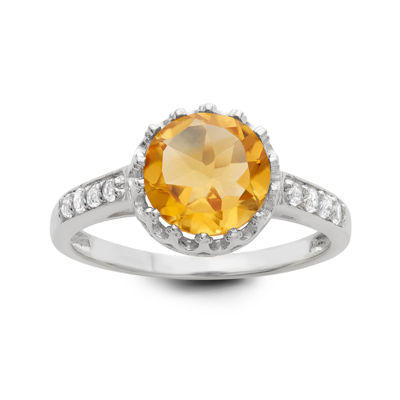 Genuine Citrine Sterling Silver Ring