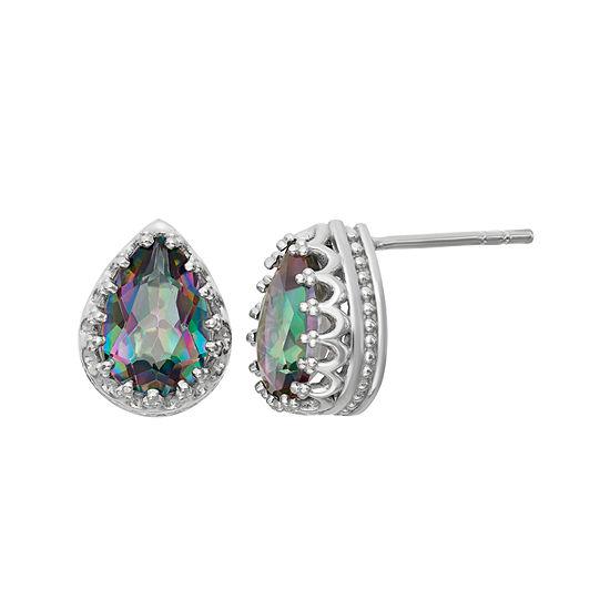 Genuine Mystic Green Topaz Sterling Silver Earrings