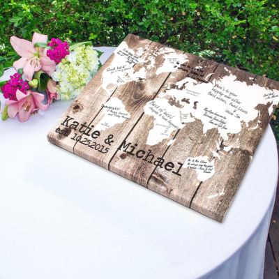Our World Canvas Wrapped Guest Book