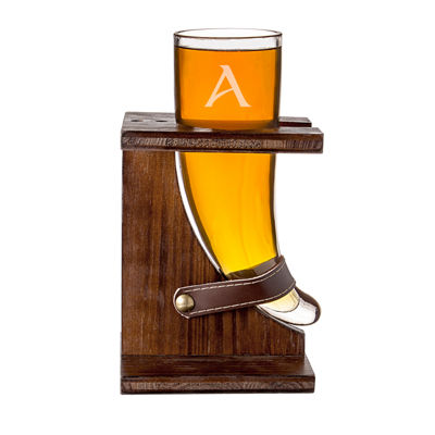 Cathy'S Concepts Personalized 16-Oz. Glass Viking Beer Horn With Rustic Stand