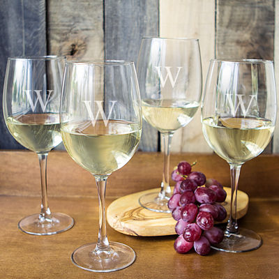 Cathy's Concepts Personalized Set of 4 White Wine Glasses