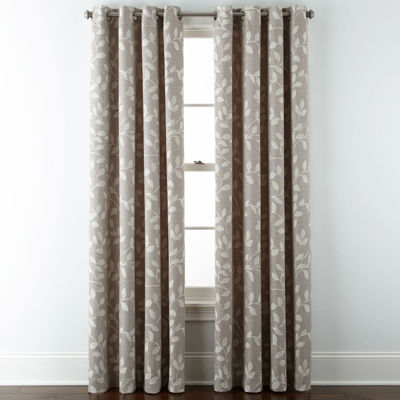 Liz Claiborne Quinn Leaf Room Darkening Grommet-Top Curtain Panel